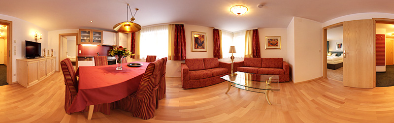 Panoramafoto Pension Grissemann - Appartement und Zimmer in Lech am Arlberg